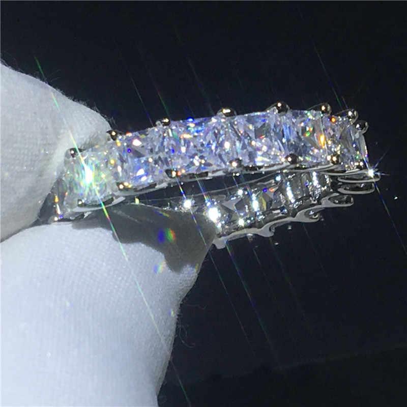 Vecalon женские обручальные кольца кольцо 925 пробы Серебряное принцесса огранка 4 мм 5A циркон обручальные кольца с фианитами для женщин ювелирные изделия на палец