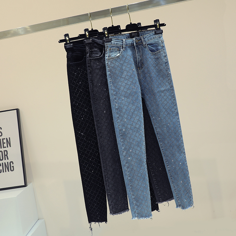 Street Denim Pantalon bleu Haute Jeans Noir Moulant Réservation Printemps Minceur Étudiants Lourd Coréenne High Taille gris Femme 2019 HO6xWfOqa