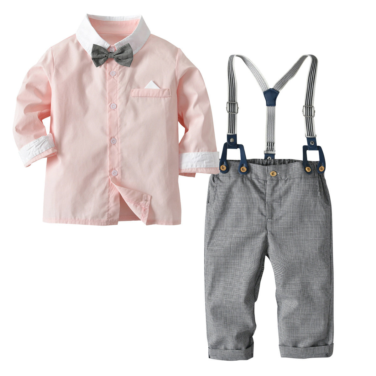2018 New Autumn Kids Suits Blazers Baby Boys Single Breasted Blouse Overalls Tie Suit Boys Formal Wedding Wear Children Clothing