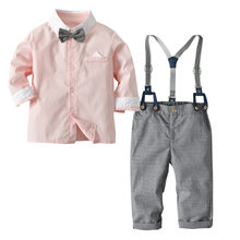 2019 New Autumn Kids Suits Blazers Baby Boys Single Breasted Blouse Overalls Tie Suit Boys Formal Wedding Wear Children Clothing(China)