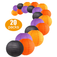 20pcs Halloween Paper Lanterns party set orange purple black hanging decoration