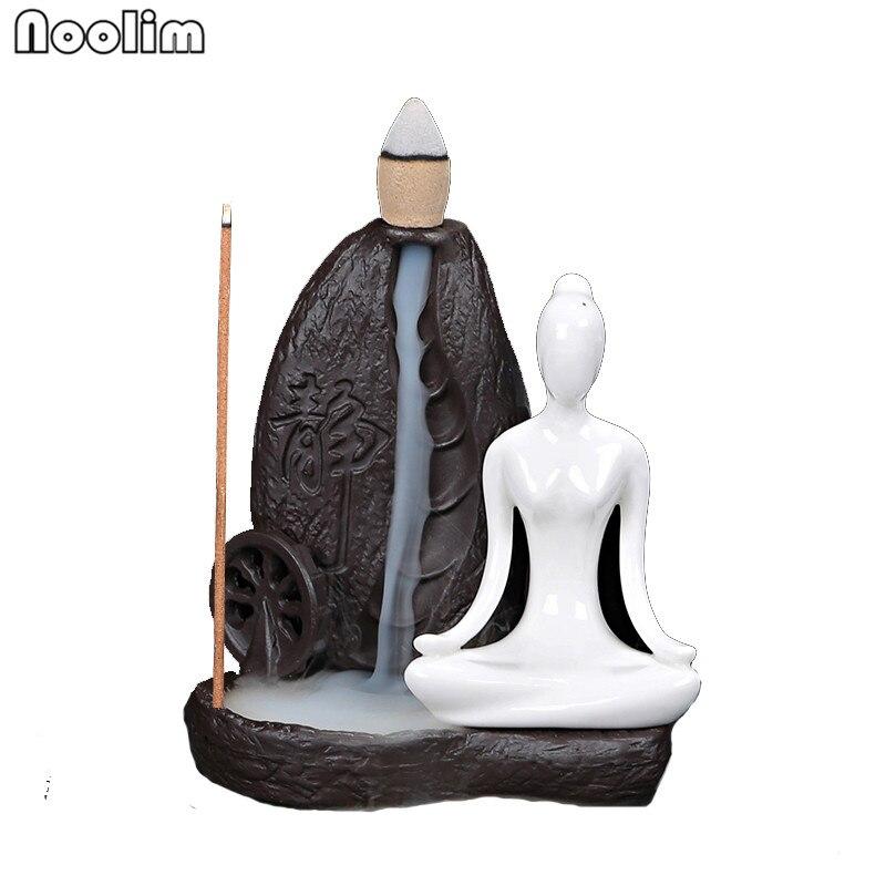 1 Pcs Kreative Wohnkultur Keramik Yoga Mädchen Räuchergefäß Rückfluss Weihrauch Kegel Brenner Handtuch Weihrauch Halter Verwenden In Büro Teehaus Niedriger Preis