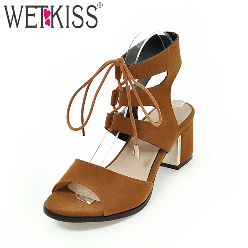 Wetkiss 2018 Super Big Size 30-48 Women Sandals Fashion Gladiator Lace up Summer Shoes High Thick Heeled Sandals Open toe Shoes лаки для ногтей models own лак для ногтей cream sticky fingers pow red models own