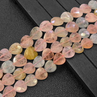 Natural Pink Yellow Blue Morgan Stone Beads Faceted Heart Loose DIY Beads For Jewelry Making Beads Accessories 15'' Women Gift