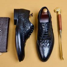 Genuine Leather Formal Derby Shoes Men Pointed Toe Lace Up Elegant Dress Shoes Comfortable Oxfords Footwear US 11.5 цены онлайн