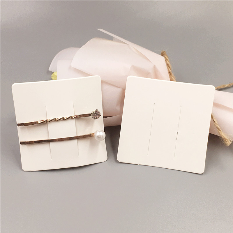 50Pcs Blank Printed White Color Kraft Paper Hair Clip Card Fashion Hairpin Jewelry Cards Hair Accessory Packaging Displays Cards