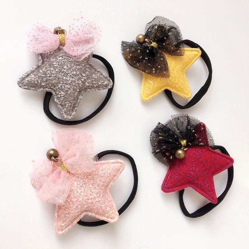 Korean Hair Accessories For Girls Handmade Hair Tie Star Dimensional Dolls Hair Clips Cartoon Elastic Hair Band Headdress ...