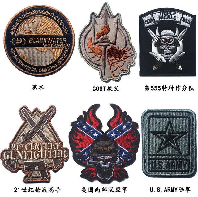 3pcs Embroidery Blackwater Cost Tactical Patch 3d Us Army Brassard