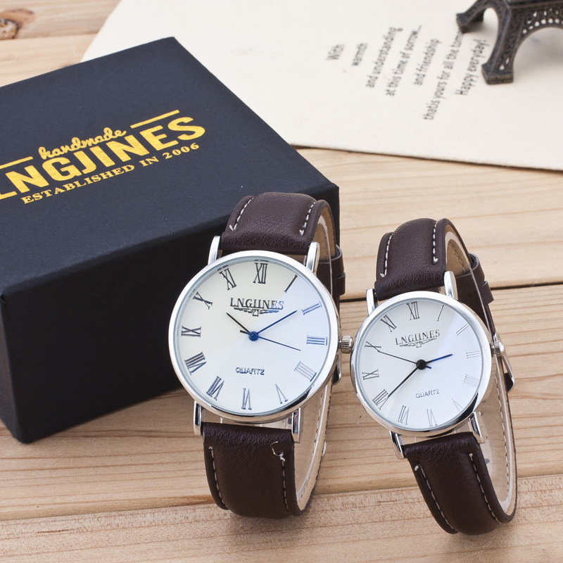 Fashion Vintage Student Couple Watch Leather Quartz Top Brands Men's Watches Casual Sports Wristwatch Woman Relojes 2pcs +box