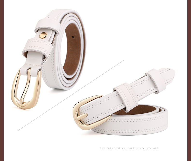 CASTELLES Split Leather Belts For Women Thin Strap Fashion Belt Female Genuine Leather Woman Metalic Buckle Girls High Quality (9)