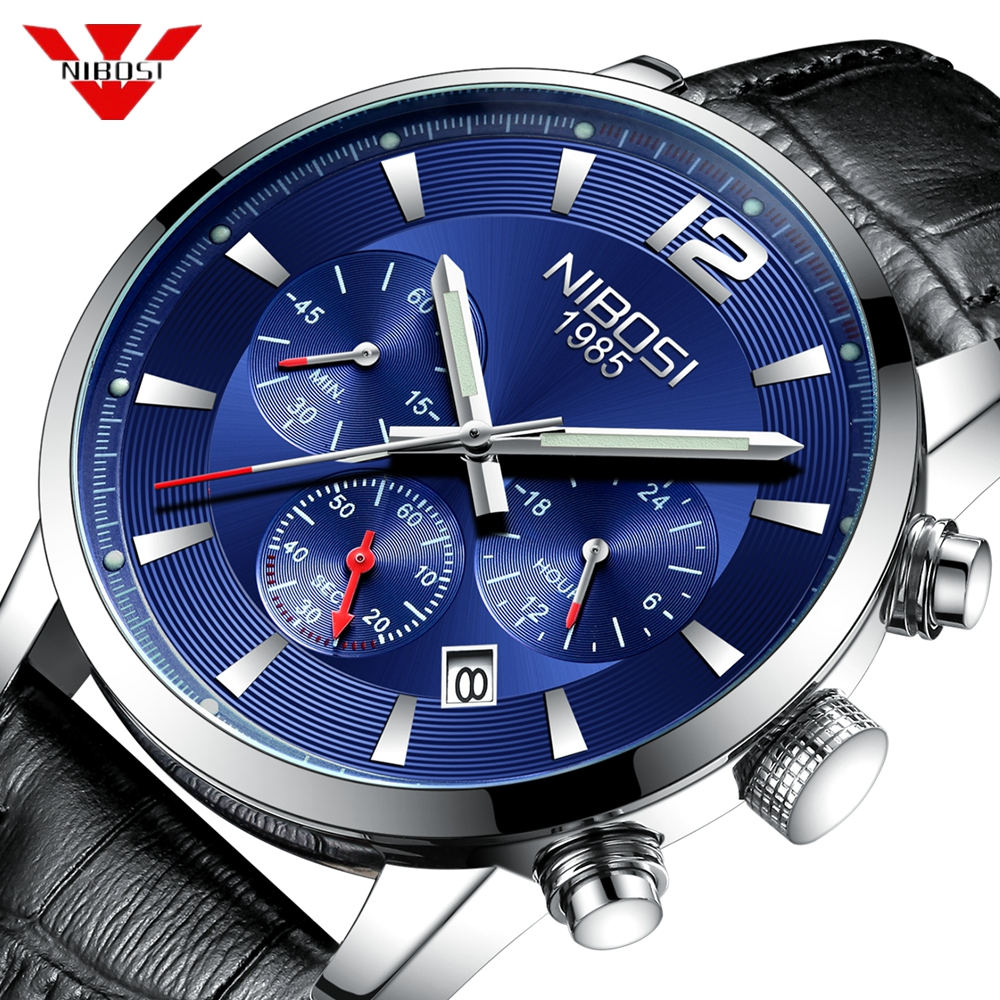 NIBOSI Mens Watches Top Brand Luxury Leather Quartz Watch Men Military Sport waterproof Blue Watch Clock Relogio Masculino Saat