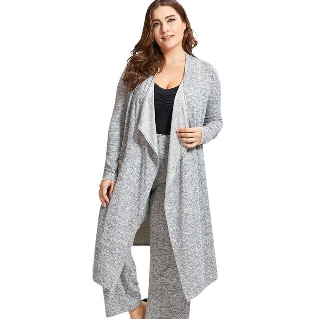 Women's Drape Front Robe  Plus Size Long Sleeve Sleepwear Loungewear
