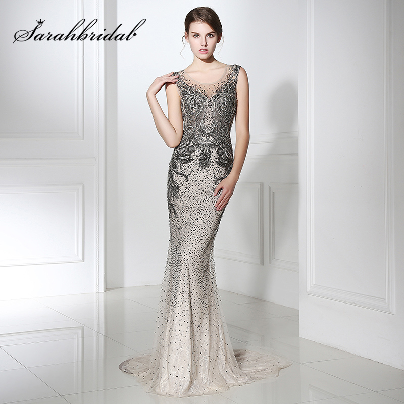 New Luxury Bling-Bling Beading Evening Dresses Sexy Mocha Mermaid Red Carpet Dress Long Grand Party Gown Fast Shipping L5398