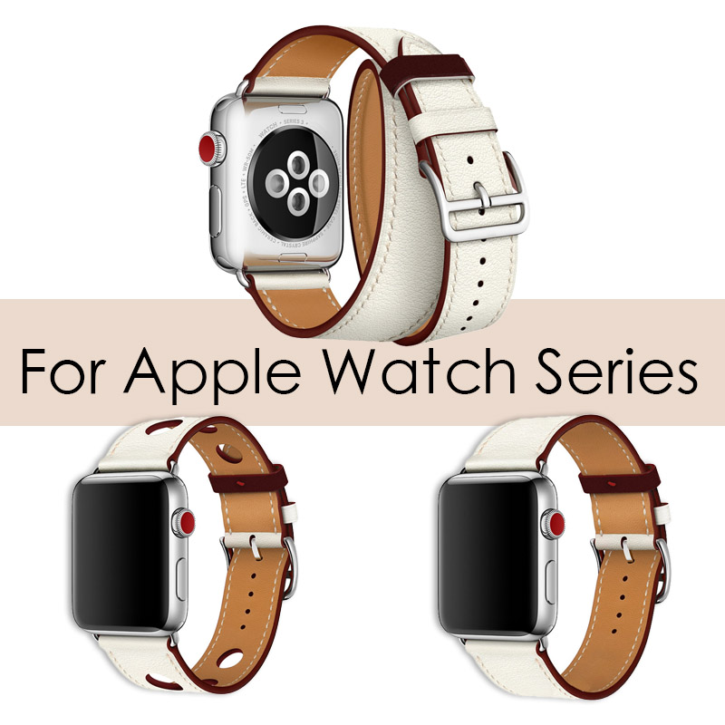 For Apple Series 4 Double Tour Watchbands Genuine Leather Strap Wrist Watch Band For Apple Watch 1 2 3 herm Bracelet 38mm-44mm цена