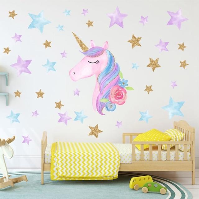 Cartone Animato Unicorns Star Cuore Autoadesivi Della Parete Carta Da Parati In
