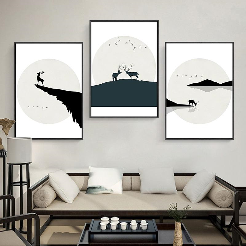 Chinese Style Black and White Elk Silhouette Mountain River Deer Animals Canvas Painting Home Room Decoration Art Poster Print