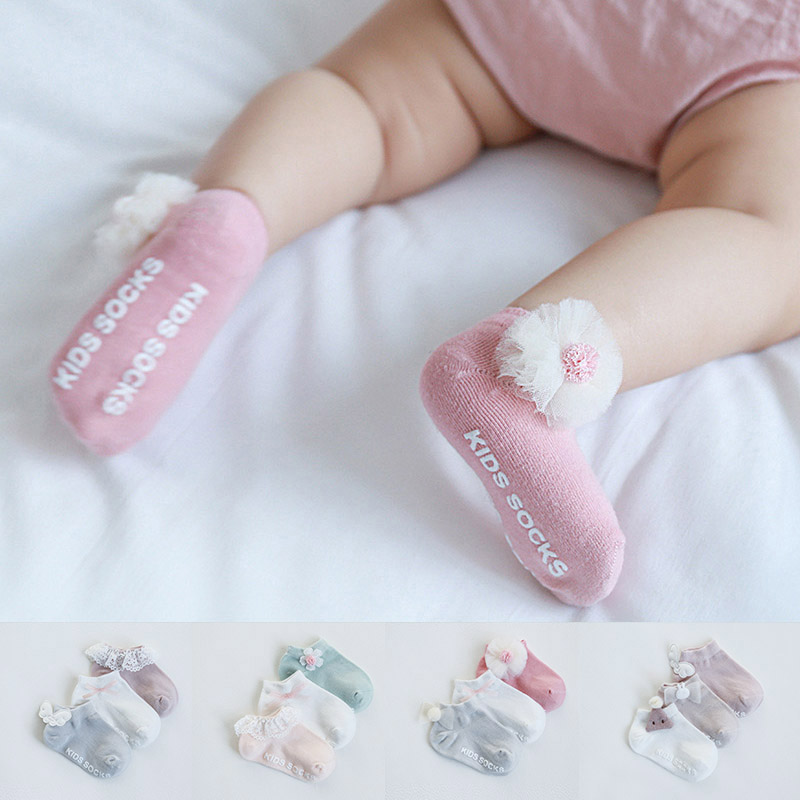 3 Pair Infant Newborn Baby Girl Socks Bowknot Flower Cotton Socks For 0-12M
