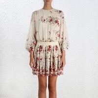 Богемный Шелковый мини платье с длинным рукавом связать кисточкой выдалбливают пикантные летние backelss Платья для женщин Разноцветные лепес