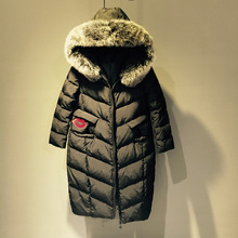 2016 High Quality Winter Jacket Women Fashion Long Black Slim Zipper Thick Sleeve Fur Collar Warm