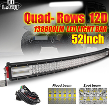 CO LIGHT 4-Rows Offroad Led Light Bar 12D 924W 744W 564W 384W Spot Flood Beams for Car Trucks Tractor Jeep 12V