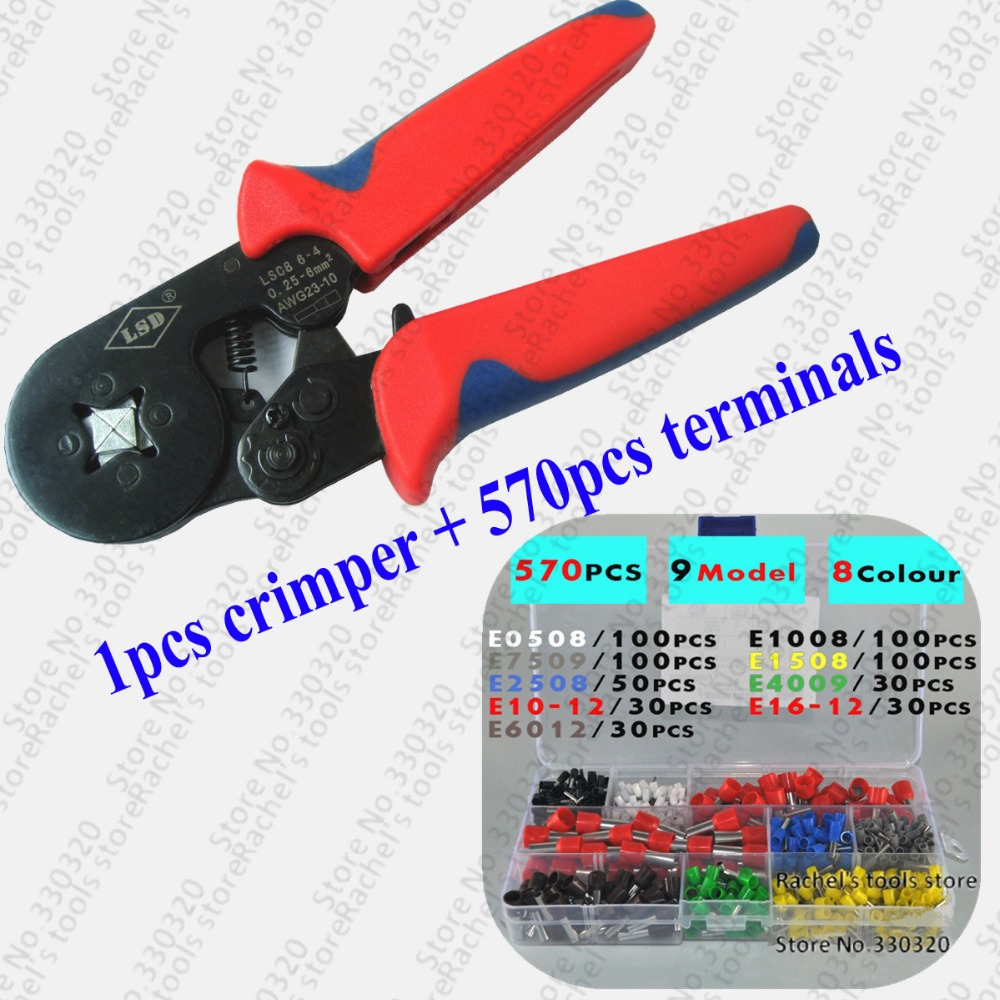 Active 1pcs Cable Ferrules Terminal Hand Crimping Pliers With 570pcs Wire End Sleeve Crimping Tool Set