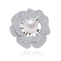 Luxury big Rose Flower Women Brooches Cubic Zircon Round A Large Sea Shell Pearl Brooch Pins Cream Bridal Wedding Jewelry