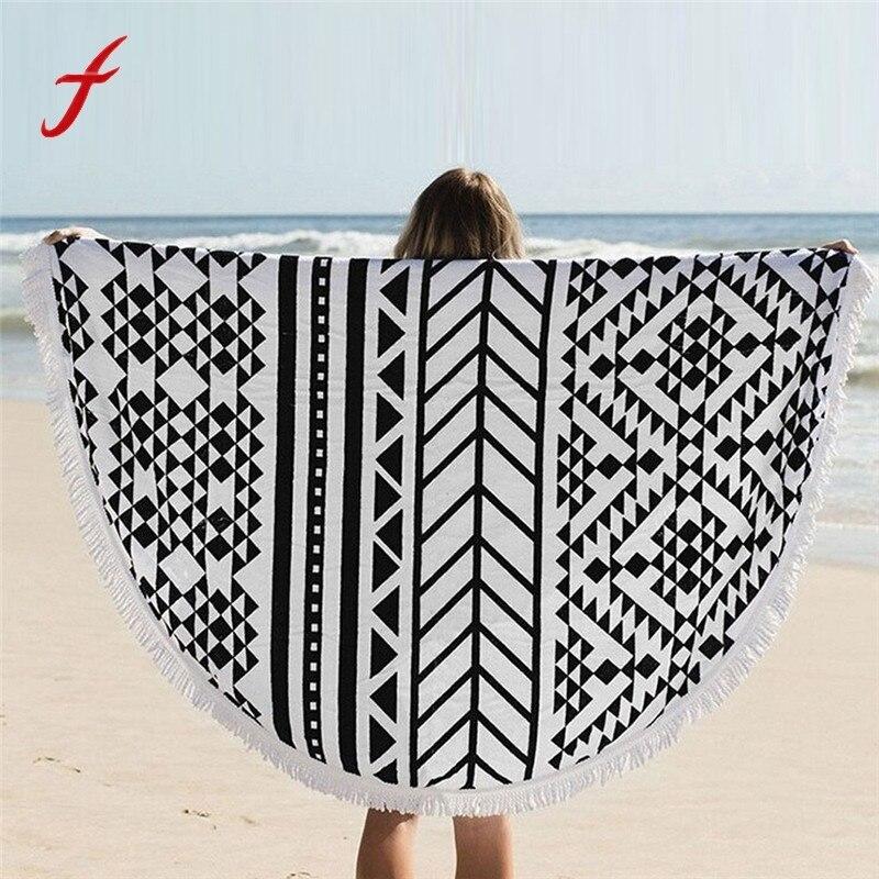 Bohemian Round Beach Towel With Tassel Pool Home Shower Towel Table Cloth Mandala Tapestry Blanket Yoga Mat Beach Towels Toalla