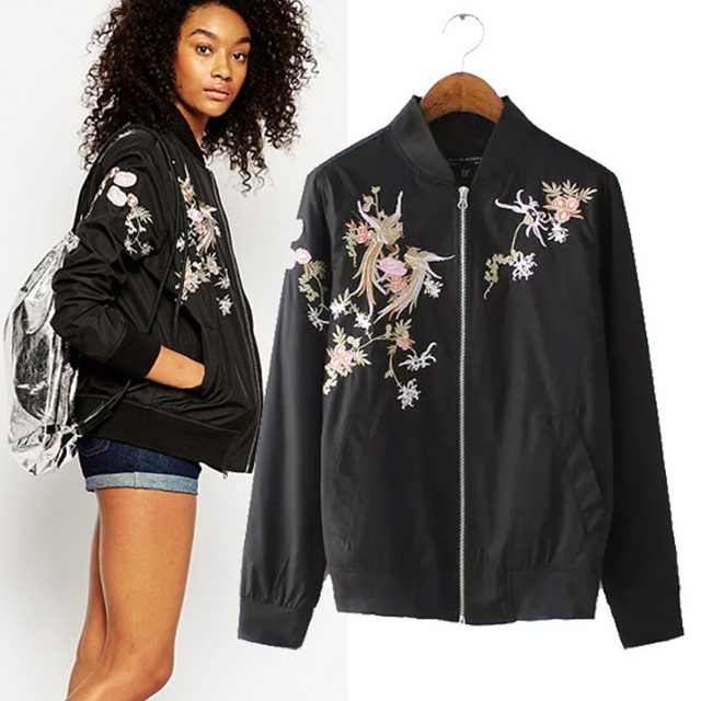 2015 New Arrival Autumn Fall Clothes Women Black Floral Bomber Jacket Sport  Jackets Casual Flower Embroidered