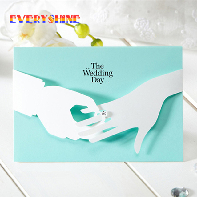 12pcs Lot Tiffany Blue Wedding Invitations Elegant Laser Cut Paperboard Lover Party Romantic Inviting Cards