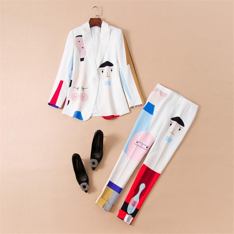 Brand Fashion Autumn Women's Two Piece Outfits Elegant 2018 Women Set Pants Suit Cartoon Print Jacket+Pants Set Office Work Wear