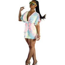 Hot sexy fashion tie-dyed dress  ruffled V-neck short-sleeved printed gradient summer new