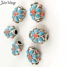Julie Wang, 14 шт., тибетский серебристый цвет, цинковый сплав, бусина с синей и красной эмалью, украшение, этнический стиль, ювелирное ожерелье, 4 мм отверстие
