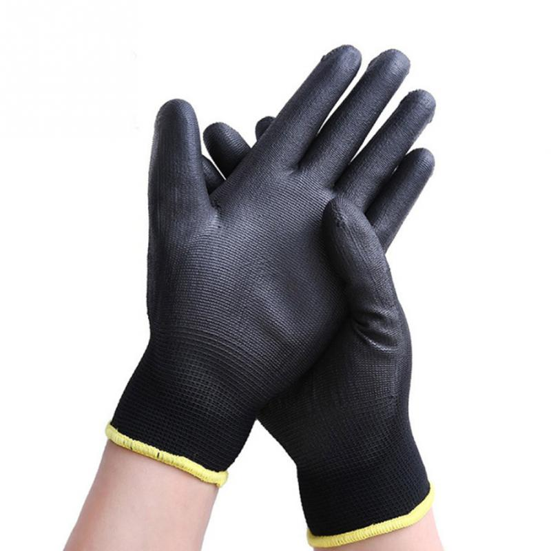 12 Pairs Work Gloves Polyester PU Coated Anti-static Gloves General Purpose Garden Hand Protection Wear-resisting Anti-skid