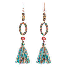 Купить с кэшбэком Ethnic Bohemian Long green Frringed earrings Vintage Boho tassel earring for women Jhumka Round ear rings Party Charm jewelry