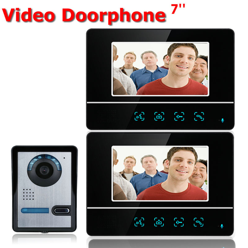 Free shipping 7'' wired color video door phone intercom system kit IR 1 outdoor camera +2 monitors 811FA12 free shipping 7 wired color video door phone intercom system video doorbell kit ir 1 outdoor camera 2 monitors 811mkb12