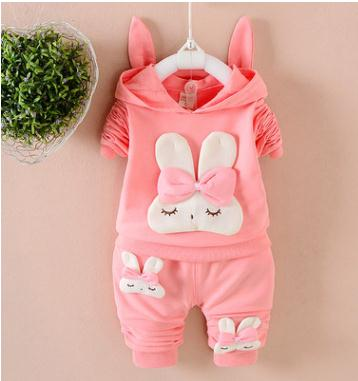 Childrens Wear 2018 Autumn Baby Girl Set Infant Clothes 1-2-3-4 Years Spring Hooded Long Sleeve Fashion QHQ060