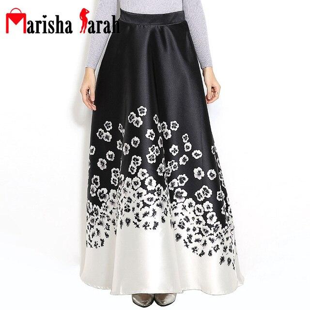 Women Vintage Long Skirt Fashion Autumn Winter Runway Elegant Floral Print Pleated Large Swing Maxi 110CM Party Skirts Vestidos
