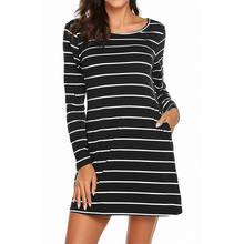 dd7ab65b83021 VOGUE gizli yeni kadın uzun kollu çizgili elbise günlük t-shirt tunik Mini  kısa elbiseler gevşek ile Criss çapraz geri cepler