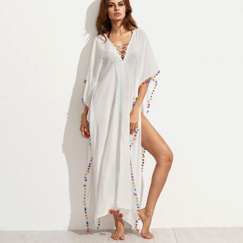 Summer Bohemia Beach Maxi Long Dresses For Women Boho White V Neck Short Sleeve Side Maxi Dress Free Shipping Women Dress