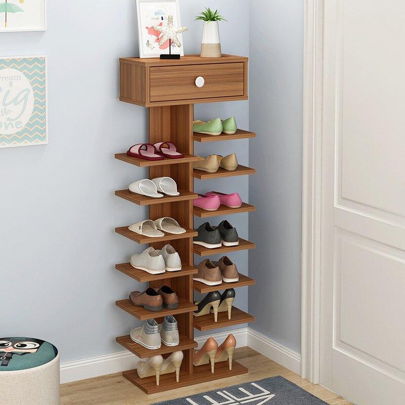 Double porte-chaussures scarpiera organisateur meubles de maison en bois estanteria para zapatos pour salon armoire à chaussures avec tiroir - 5