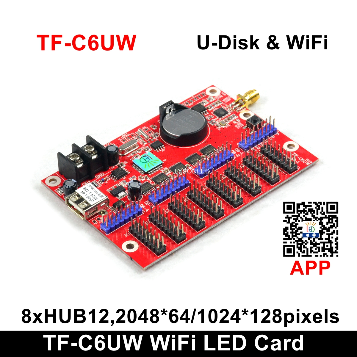 Factory Price LongGreat TF-C6UW WIFI Communication LED Display Card, Support 1024*128 Pixels P10 Single Color LED Scrolling Sign