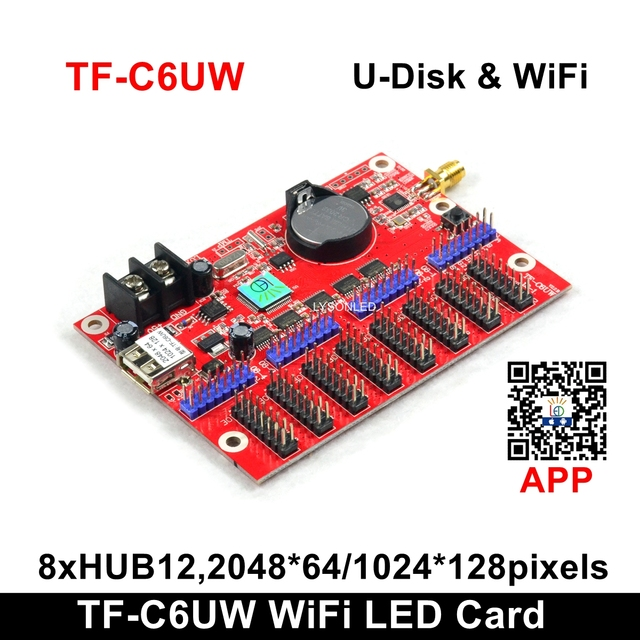 Factory Price LongGreat TF C6UW WIFI communication LED Display Card, Support 1024*128 pixels P10 Single Color  Scrolling Sign