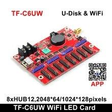 工場出荷時の価格longgreat TF C6UW wifi通信ledディスプレイカード、サポート 1024*128 ピクセルP10 単色スクロールサイン