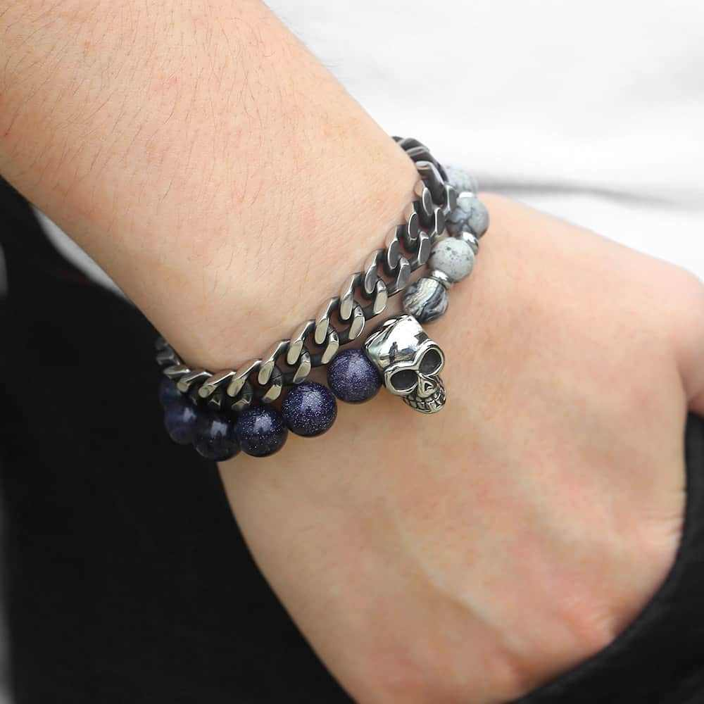 Unique Natural Sandstone Mens Beaded Bracelet Stainless Steel Cuban Link Chain Bracelets For Male Woman Wristband Gift DLBF26