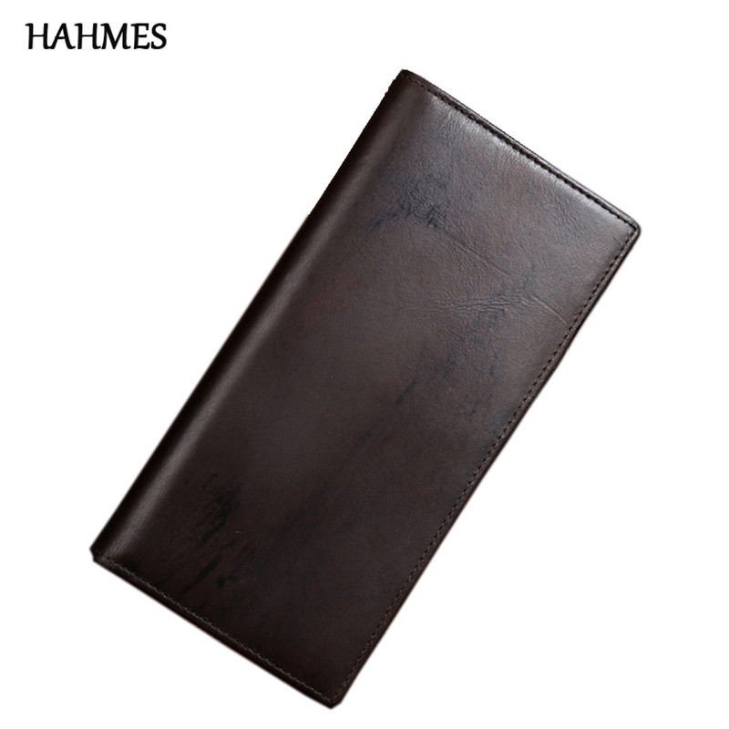 The 2017 New Head layer cowhide Mens Oil Wax Retro High-Capacity Multi-Card Bit Long Wallet Clutch Male Purse