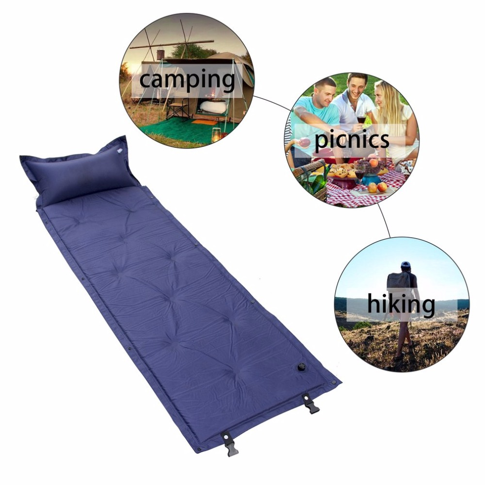 Single Person Inflatable <font><b>Air</b></font> Mattress Pillow Folding Sleeping Bag Bed Outdoor Camping Travel <font><b>Air</b></font> Bed Pad