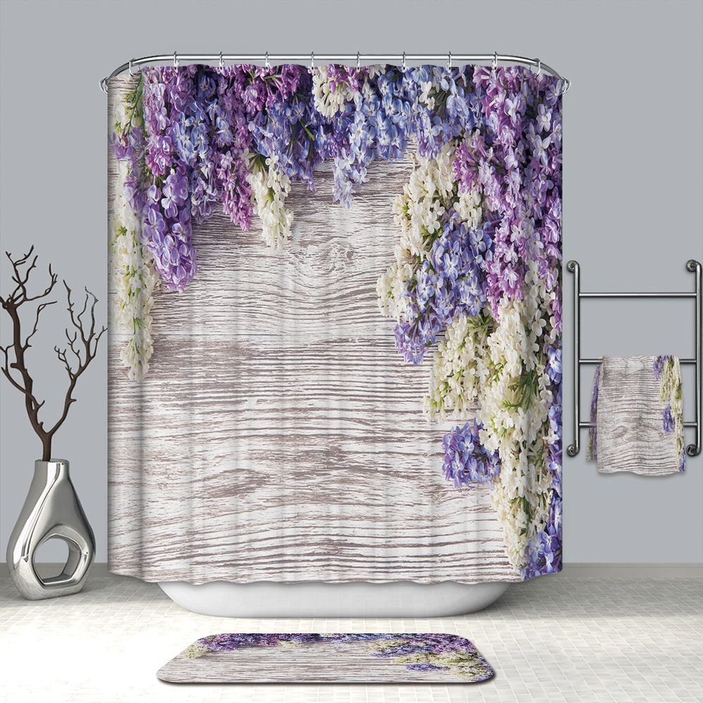 3D Colorful Flowers And Christmas Tree Shower Curtains Waterproof Mildew Proof Thickened Bath Curtains For Bathroom