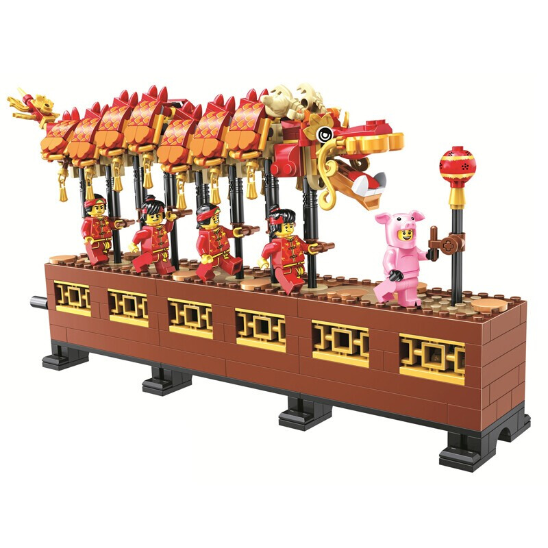 New 46002 Chinese Toys Compatible With 80102 Chinese Dragon Dance Set Building Blocks Bricks Assembly Kids Toys New Year Gift