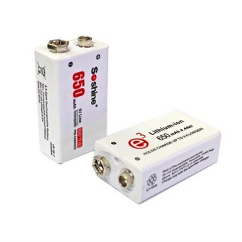 Soshine 2pc 650mAh 9V 6F22 Li-ion Lithium Rechargeable Battery for Electronic Smoke Guitar 4pcs soshine 650mah 9v 6f22 li ion rechargeable battery with portable battery box for multimeter wireless microphone alarm