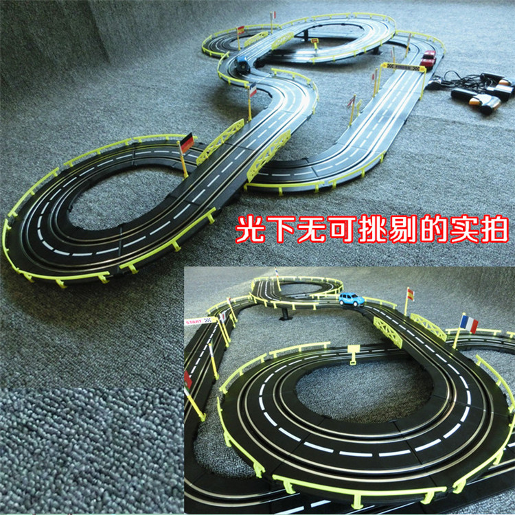 636cm 143 electric rail car track set double rc racing kids toys boys gift